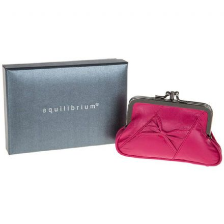Leather Slant Bow Purse Pink